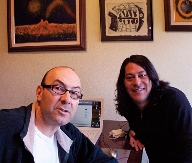 Momo y David Ochoa grabando un Solo 24 Horas en Barcelona